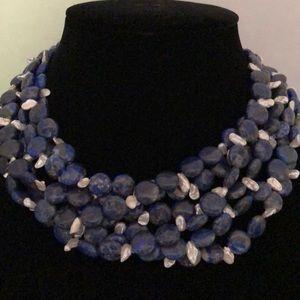 Blue Lapis  and Pearl Necklace Torsade La Nicole